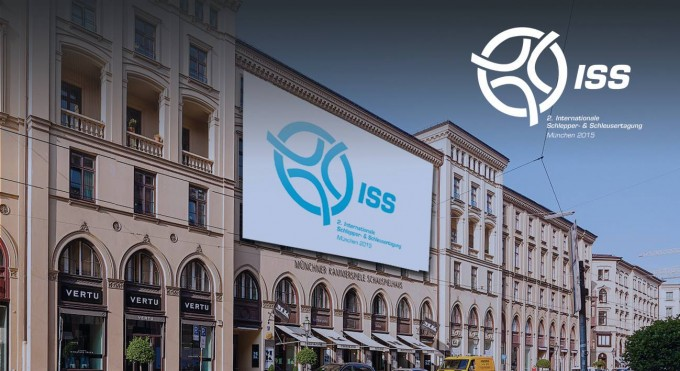 The banner of theInternational Conference for Human Smuggling and Trafficking (ISS) on the facade of the Kammerspiele in München (visualisation). Courtesy of ISS 2015.