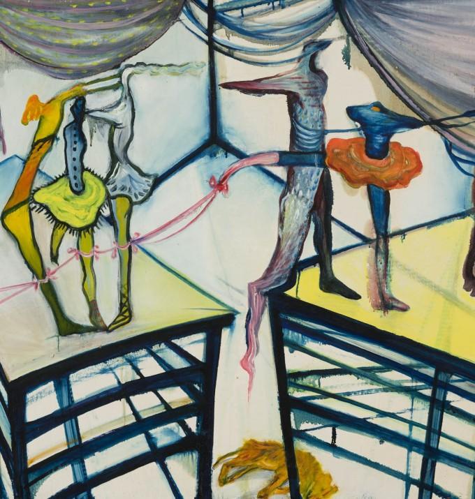 A függönnyel lezárt tér előterének két oldalán egy-egy pódium, amelyen három (bal oldalon), illetve két (jobb oldalon) figura áll. A háttérben sárga színű fekvő állat (kutya).  Őrzési hely: Szent István Király Múzeum, Székesfehérvár, ltsz. 90.6.1.