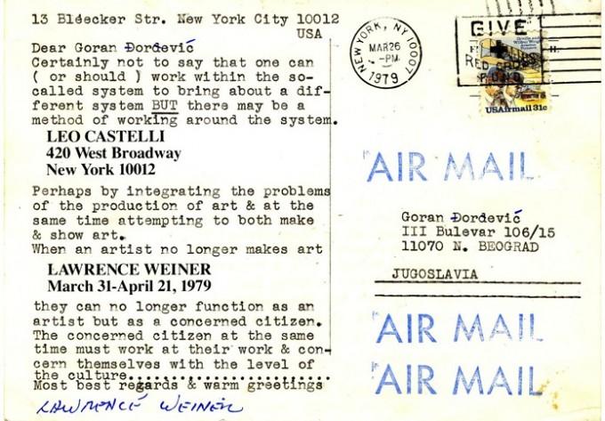 Lawrence Weiner válaszlevele Goran Djordjević nemzetközi művészsztrájk felhívására (The International Strike of Artists, 1979). Forrás: vsvu.sk