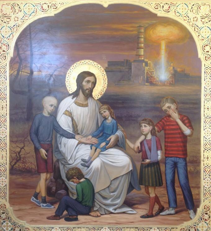 A Csernobili Megváltó ikonja a szlavuticsi ortodox templomban.