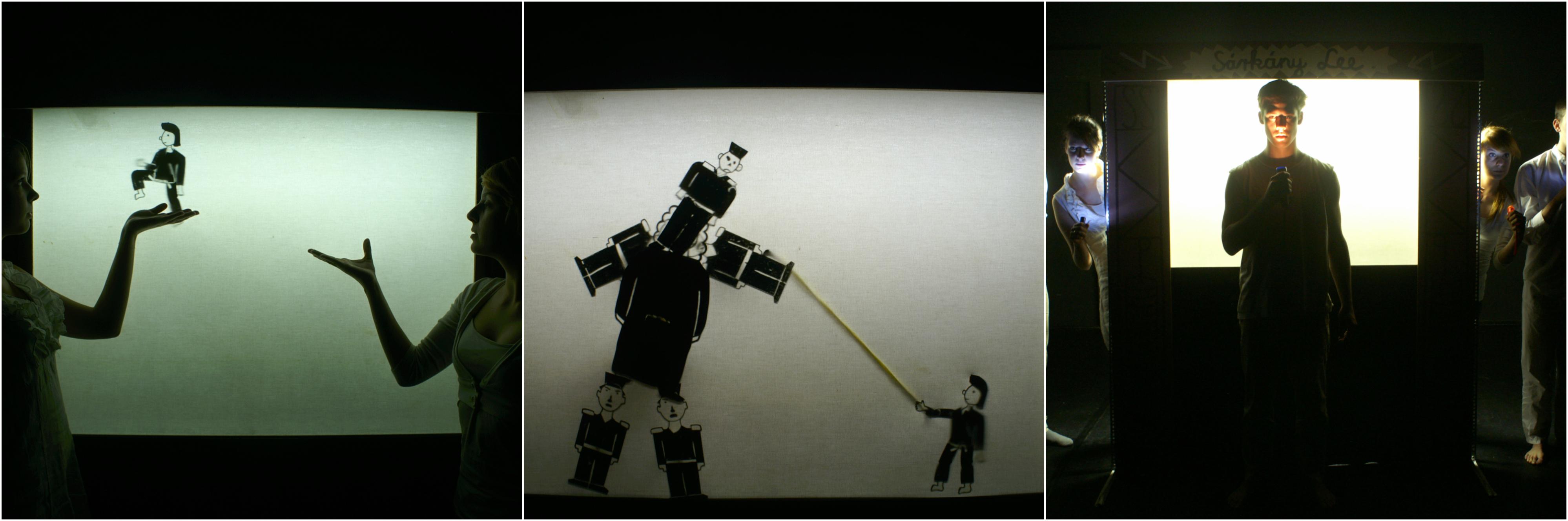 Sárkány Lee c. árnybábjáték. Alkotók: Gábor Sára (dramaturg), Lázár Helga (rendező), Kovács Budha Tamás és Tábori András (képzőművészek)